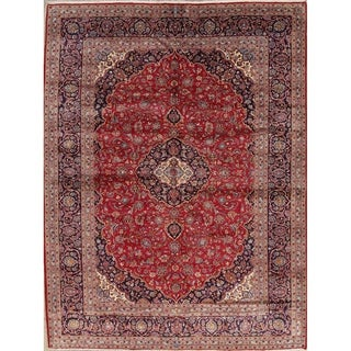 "Kashan Hand Knotted Wool Traditional Persian Medallion Area Rug - 12'8"" x 9'8"""