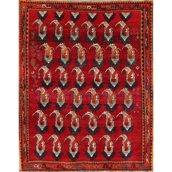 "Hand Made Woolen Traditional Shiraz Persian Paisley Area Rug - 7'3"" x 5'9"""
