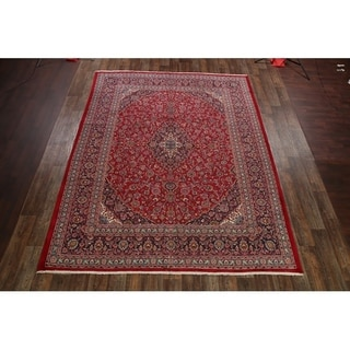 "Hand Knotted Traditional Floral Mashad Persian Area Rug Medallion - 12'8"" x 9'9"""