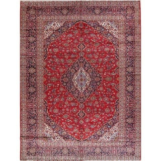 "Floral Hand Made Traditional Kashan Persian Medallion Area Rug - 12'11"" x 9'8"""