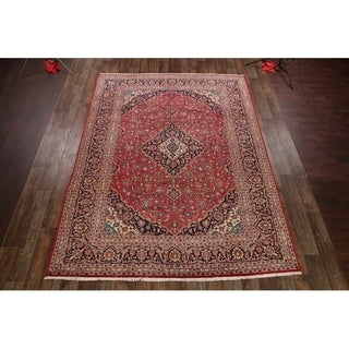 """Traditional Hand Knotted Vintage Mashad Persian Medallion Area Rug - 12'11"""" x 9'6"""""""