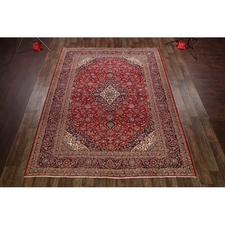 "Vintage Hand Made Traditional Kashan Persian Medallion Area Rug - 12'10"" x 9'10"""