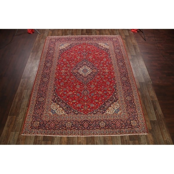 """Vintage Kashan Persian Floral Hand Made Traditional Medallion Area Rug - 12'9"""" x 10'"""