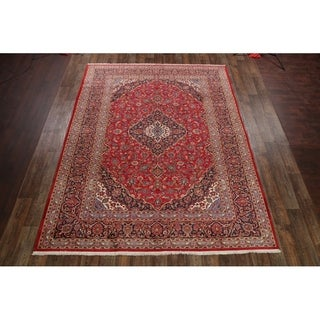 "Vintage Kashan Hand Made Wool Traditional Persian Medallion Area Rug - 12'9"" x 9'7"""