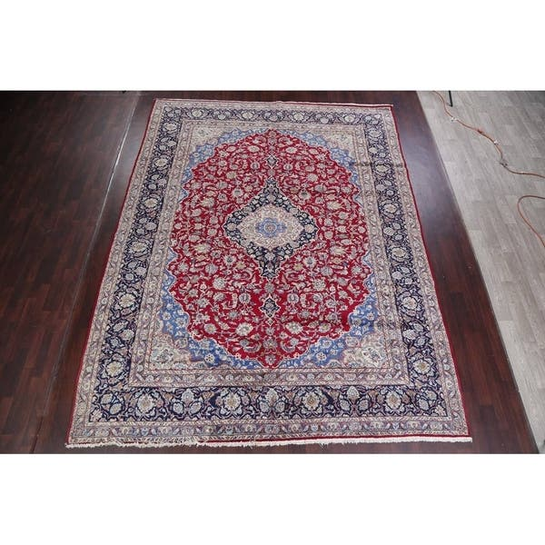 Vintage Traditional Flora Hand Made Mashad Persian Medallion Area Rug 12 11 X 9 11 Overstock 26265570