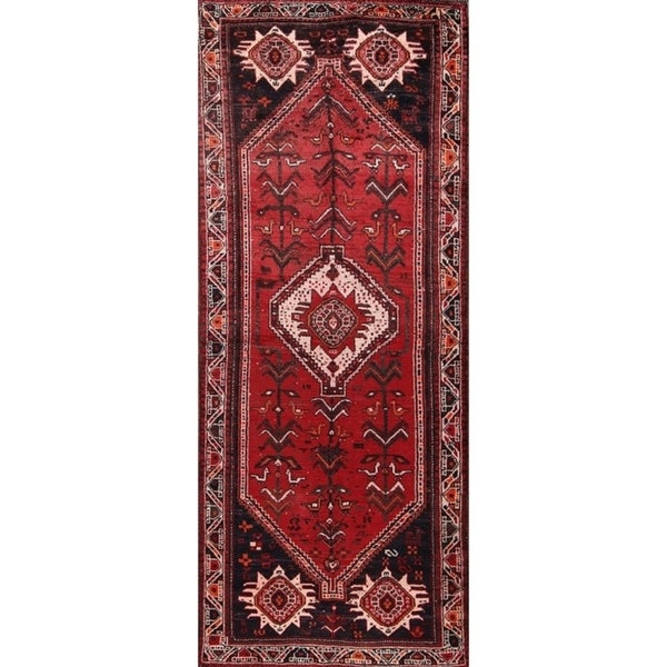"Hand Made Wool Traditional Antique Shiraz Persian Rug Tribal Carpet - 9'4"" x 3'6"" runner"