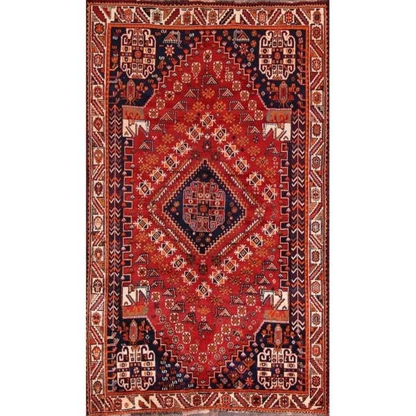 "Vintage Kashkoli Shiraz Handmade Wool Classical Area Rug Persian Red - 8'5"" x 5'1"""