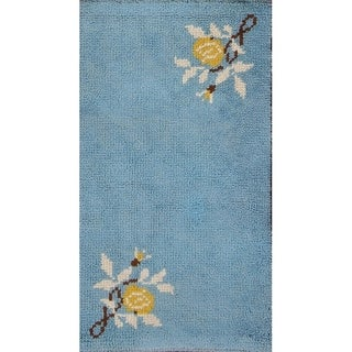 "Rya Sweden Hand Knotted Wool Oriental Floral Area Rug - 4'4"" x 2'5"""
