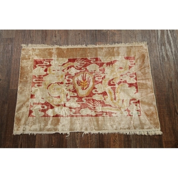 """Silk Antique Art Deco Chinese Hand Knotted Traditional Oriental Rug - 2'0"""" x 3'0"""""""