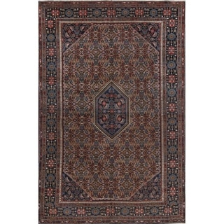 """Vintage Tabriz Persian Area Rug Hand Knotted Wool Brown Carpet - 9'7"""" x 6'3"""""""