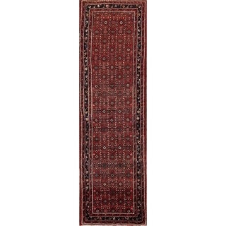 "Vintage Hand Made Traditional Hamedan Geometric Persian Rug - 12'2"" x 3'6"" runner"