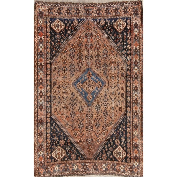 "Hand Made Traditional Antique Ghashghaie Goemetric Persian Area Rug - 7'6"" x 5'0"""