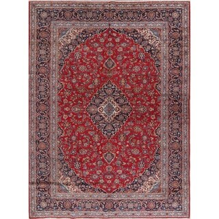Floral Handmade Wool Traditional Red Kashan Persian Area Rug Medallion - 13' x 9'6""