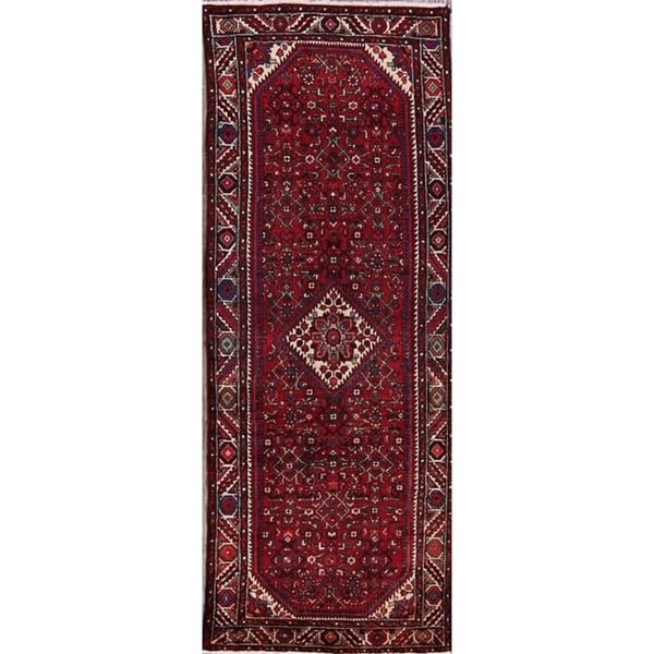 "Vintage Hand Made Wool Hamedan Persian Medallion Rug - 10'2"" x 3'11"" runner"