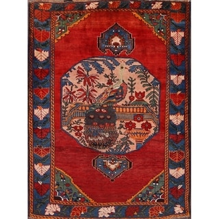 "Traditional Hand Knotted Antique Kazak Caucasian Russian Area Rug - 6'1"" x 4'6"""