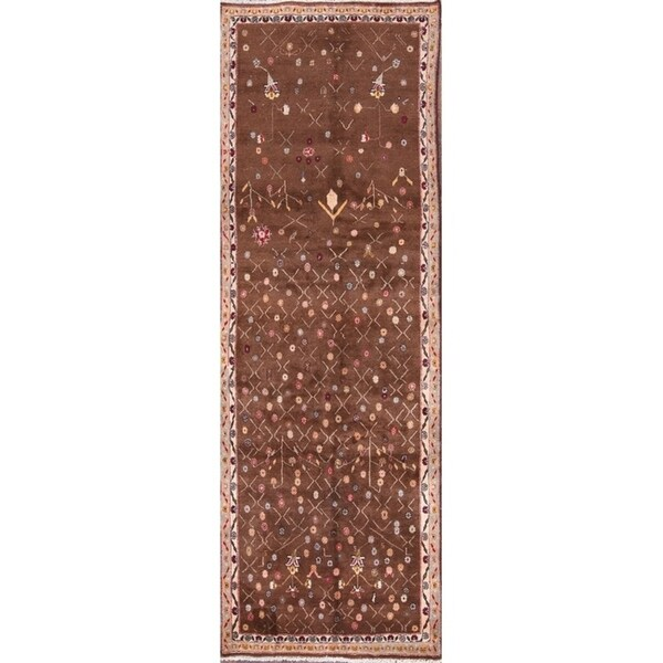 """Hand Knotted Wool Geometric Abadeh Shiraz Persian All-Over Floral Rug - 9'8"""" x 3'3"""" runner"""