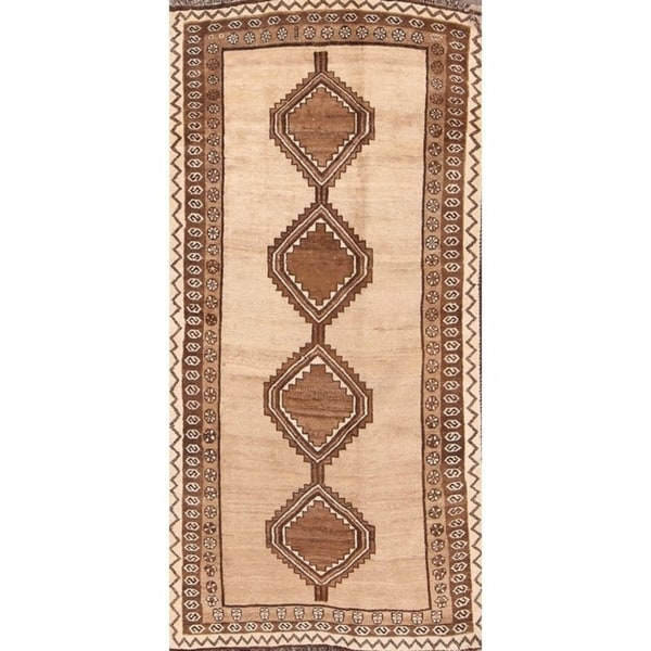 """Gabbeh Hand Knotted Woolen Persian Geometric Area Rug - 7'6"""" x 3'10"""""""