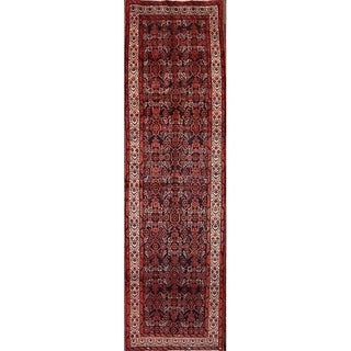 """Wool Traditional Hamadan Persian Rug Hand Knotted Wool - 9'7"""" x 3'9"""" runner"""
