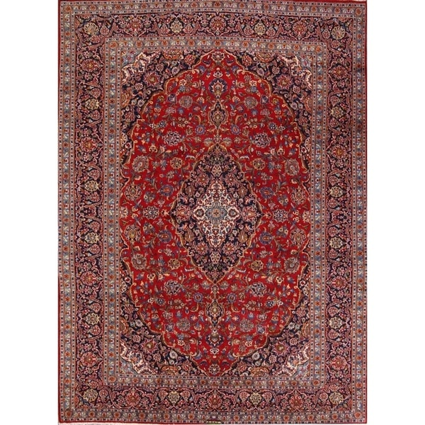 Persian Hand Knotted Kashan Silk And Wool Area Rug Ebth: Shop Signed Kashan Persian Hand Knotted Wool Medallion