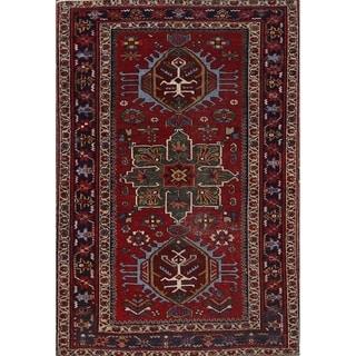 "Heriz Serapi Geometric Hand Made Antique Persian Geometric Area Rug - 4'7"" x 3'1"""
