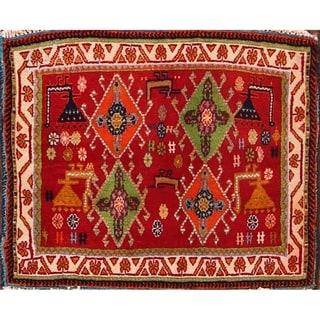 "Kashkoli Traditional Hand Made Wool Shiraz Persian Area Rug Tribal - 1'10"" x 2'2"" square"