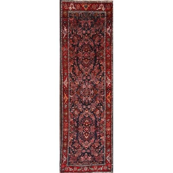 "Handmade Wool Traditional Hamedan Persian Medallion Rug - 12'10"" x 3'6"" runner"