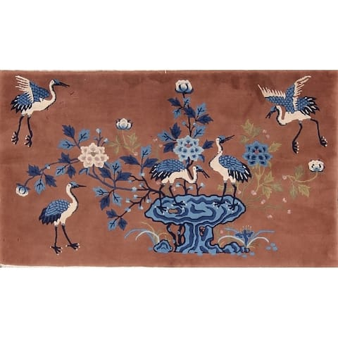 """Art Deco Nichols Chinese Hand Knotted Antique Oriental Rug Wool - 5'3"""" x 3'1"""""""