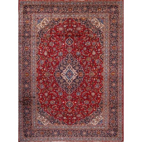 "Hand Knotted Wool Kashan Traditional Persian Area Rug Medallion Red - 13'3"" x 9'6"""