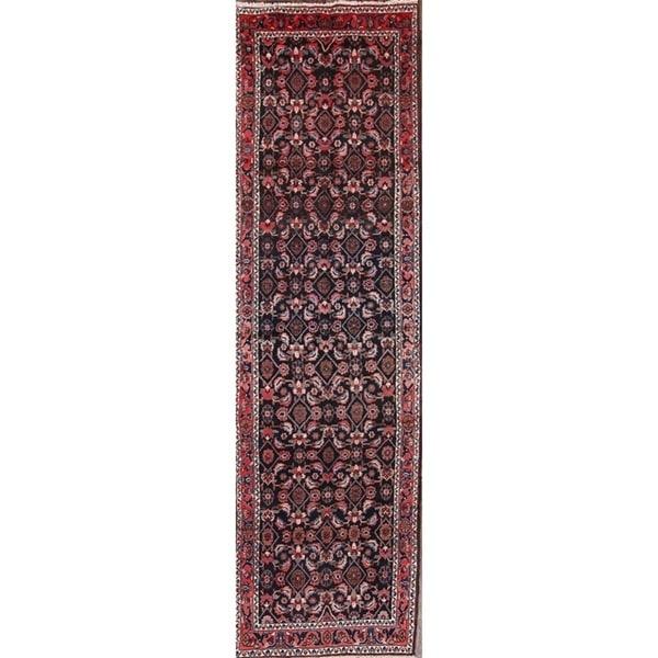"Hand Knotted Wool Hamedan Persian Oriental Medallion Rug - 12'11"" x 3'6"" runner"