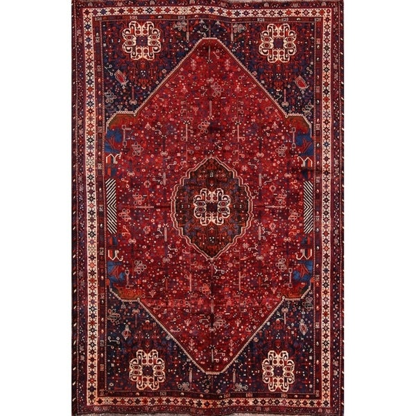 """Vintage Abadeh Hand Made Wool Traditional Shiraz Persian Area Rug - 10'4"""" x 6'7"""""""