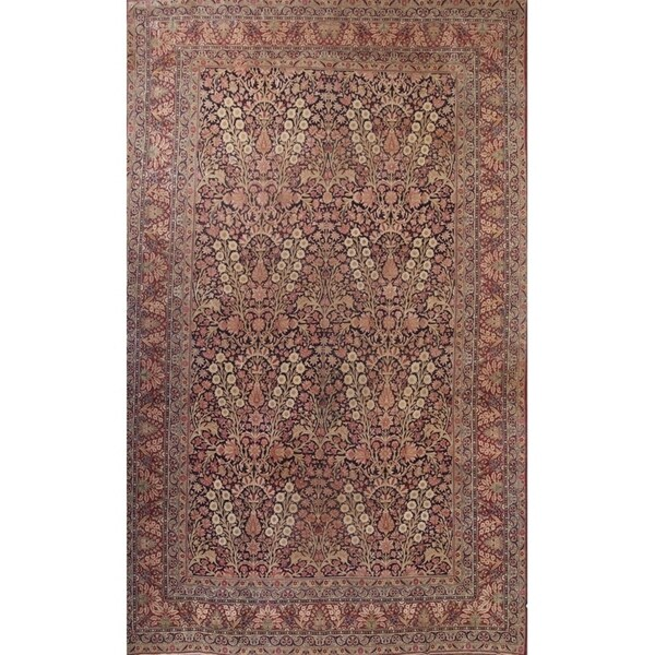 "Hand Knotted Wool Traditiona Kerman Lavar Persian Floral Area Rug - 19'1"" x 11'10"""