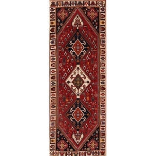 "Hand Knotted Wool Abadeh Vintage Nafar Persian Rug Geometric Carpet - 10'0"" x 3'6"" runner"