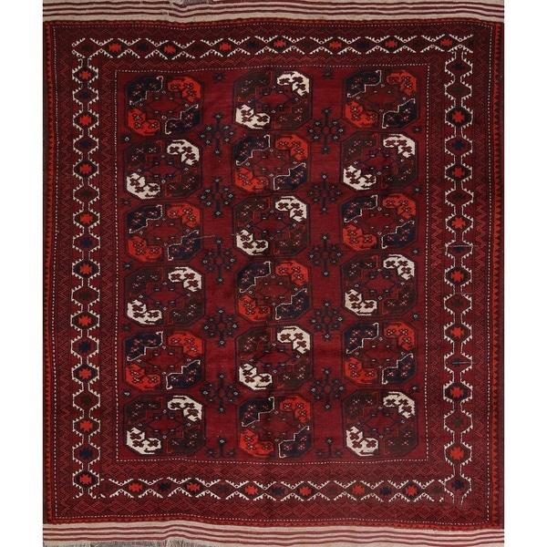 "Vintage Balouch Afghan Tribal Handmade Traditional Oriental Area Rug - 9'3"" x 7'9"" square"