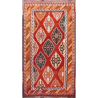 "Vintage Hand Woven Traditional Kilim Shiraz Persian Area Rug - 9'4"" x 5'4"""