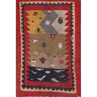 """Hand Woven Kilim Sirjan Persian Oriental Area Rug Geometric - 3'10"""" x 2'6"""""""