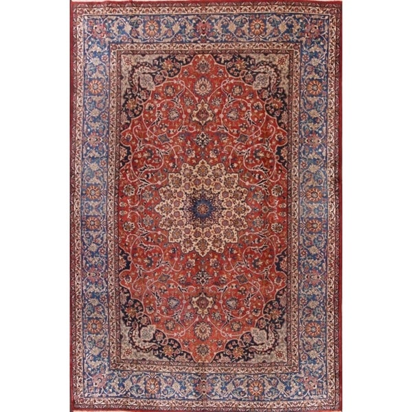 "Traditional Floral Hand Knotted Isfahan Antique Persian Large Area Rug - 12'5"" x 8'4"""