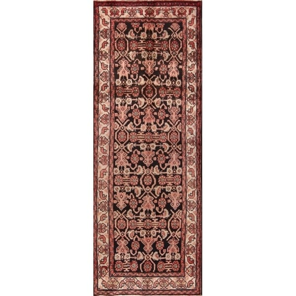 "Hamedan Traditional Persian Hand Made Rug Brown Carpet - 9'9"" x 3'7"" runner"