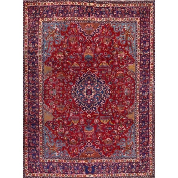 """Floral Hand Made Wool Kashmar Persian Oriental Medallion Area Rug - 12'11"""" x 9'5"""""""