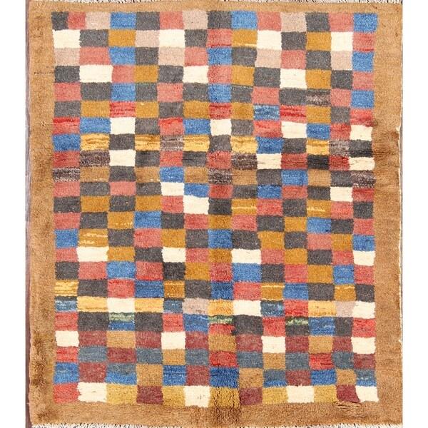 "Hand Made Wool Traditional Gabbeh Shiraz Persian Area Rug - 4'11"" x 3'7"""