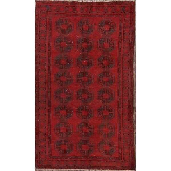 """Balouch Afghan Traditional Antique Oriental Hand Knotted Area Rug Red - 7'1"""" x 4'0"""""""