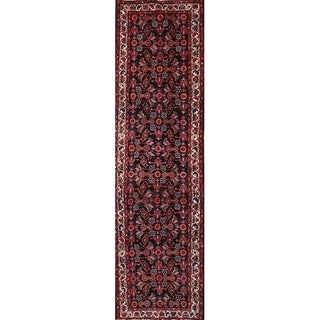"Handmade Wool Traditional Malayer Hamedan Persian Medallion Rug Blue - 13'1"" x 3'6"" runner"