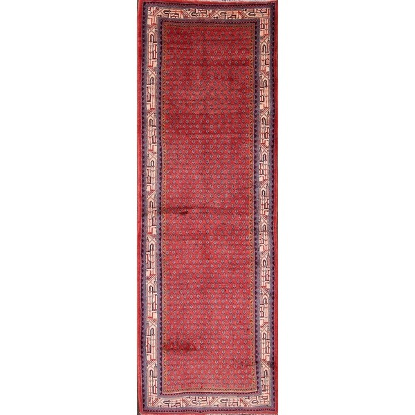 """Hand Knotted Wool Traditional Botemir Boteh Persian Rug Geometric - 10'5"""" x 3'6"""" runner"""