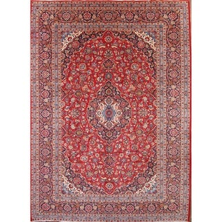 "Handmade Traditional Kashan Persian Medallion Area Rug - 13'4"" x 9'7"""