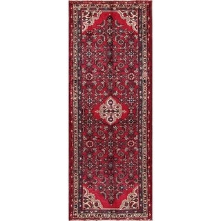 "Hamedan Persian Traditional Hand Made Wool Tribal Rug Red - 9'4"" x 3'6"" runner"