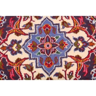 "Handmade Wool Traditional Floral Kashan Persian Medallion Area Rug - 13'3"" x 9'6"""