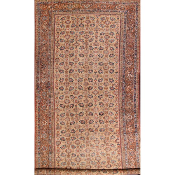 """Antique Handmade Wool Traditional Sultanabad Persian Area Rug Floral - 19'10"""" x 9'1"""""""