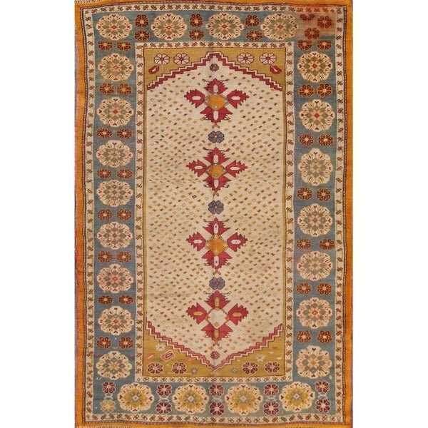 "Antique Oushak Hand Made Turkish Oriental Area Floral Rug Rare Beige - 7'3"" x 4'9"""