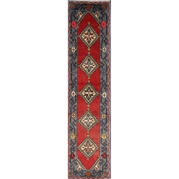 """Traditional Hand Knotted Wool Ardebil Persian Geometric Rug - 7'8"""" x 1'10"""" runner"""