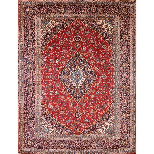 "Traditional Vintage Kashan Hadn Knotted Persian Medallion Area Rug Red - 12'7"" x 9'7"""