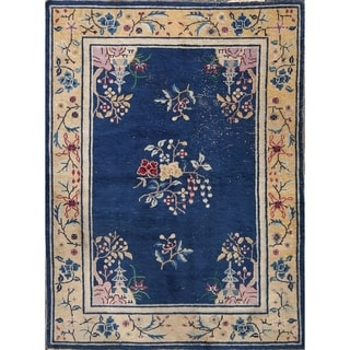 """Art Deco Nichols Chinese Hand Knotted Antique Oriental Area Rug - 4'11"""" x 3'7"""""""